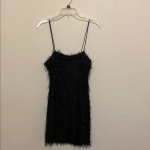 black fluffy party dress